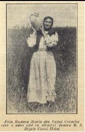 Maria Mudura , fata din Vadu Crisului , care l-a intampinat pe regele Carol II cu ulciorul cu apa .... ( bineinteles ca ulciorul era din ceramica alba de Vadu Crisului ...unica in Romania iar apa era din fantana de la Cociodie )