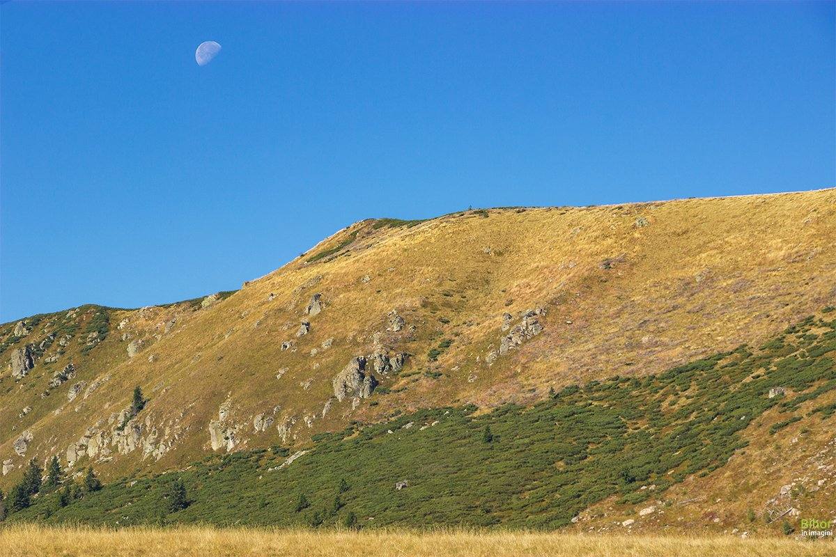 The moon above Cârligate ridge